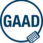 Blue Global Accessibility Awareness Day Logo. Circle around GAAD initials with keyboard on bottom right.